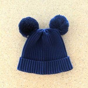 MINI RODINI Navy Blue Pom Pom Ear Knit Beanie 52/54cm